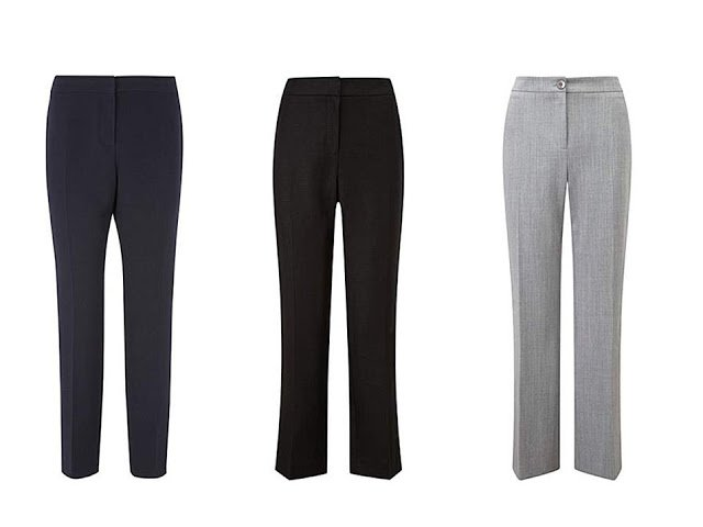 three pairs of classic trousers in cool colors