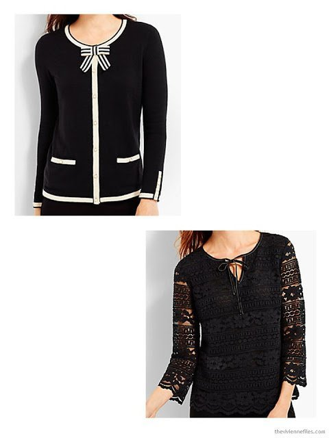 Talbots black & cream cardigan and black lace top