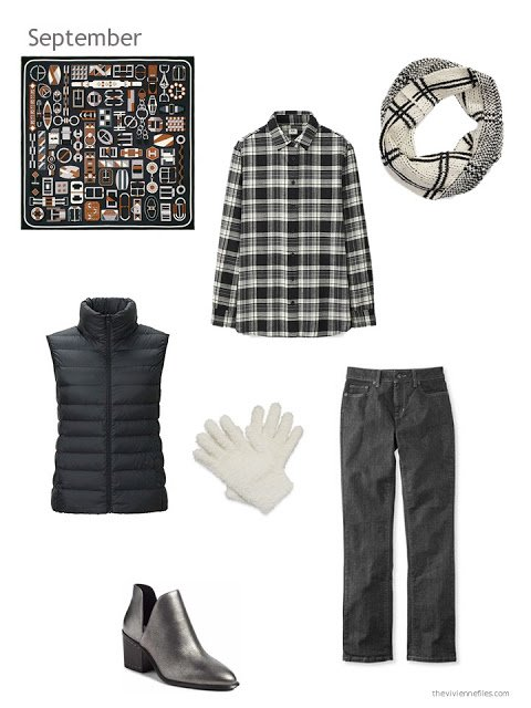 black and white fall and winter outfit