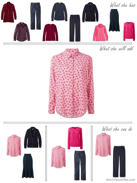 adding a pink star printed shirt to a capsule wardrobe in red and navy, for cool weather
