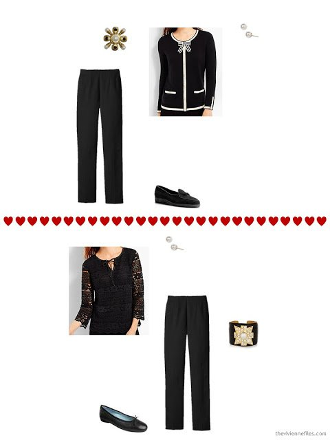 two Talbots tops work with dressy black pants from a travel capsule wardrobe