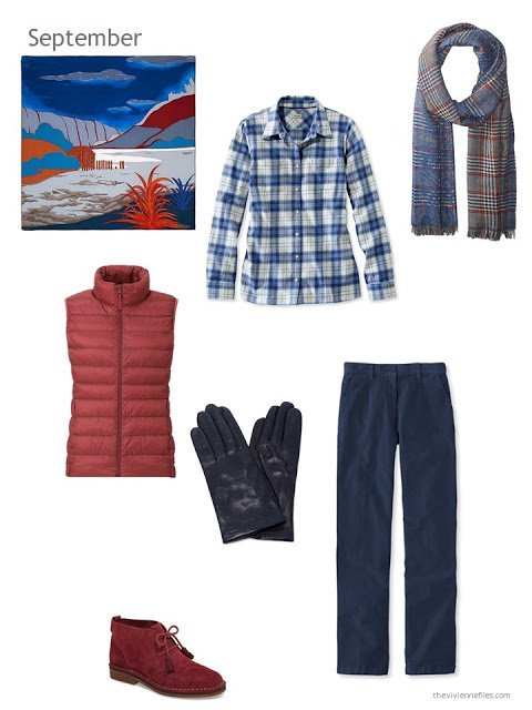 a fall and winter outfit in navy, red and white