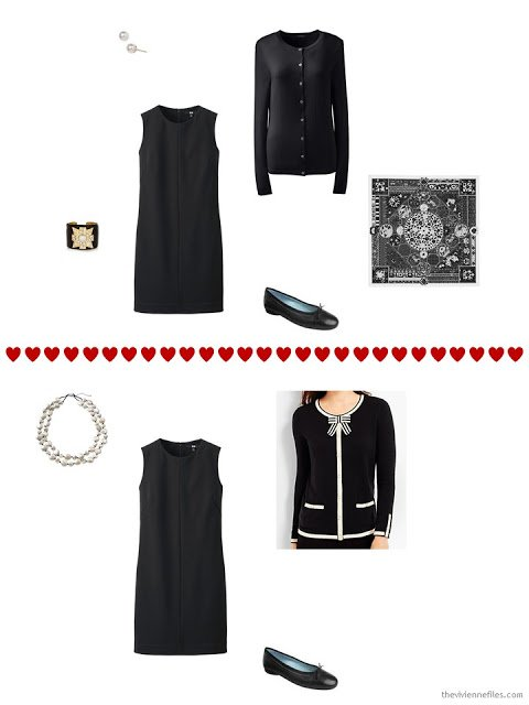 two ways to wear a sleeveless black dress with a cardigan from a travel capsule wardrobe
