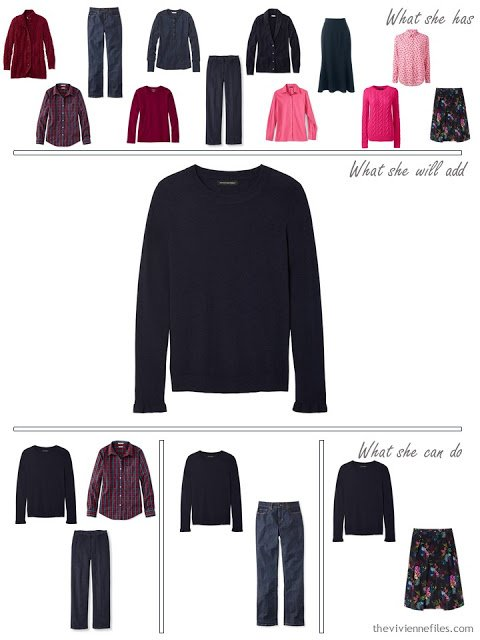 adding a navy sweater to a capsule wardrobe in red and navy, for cool weather