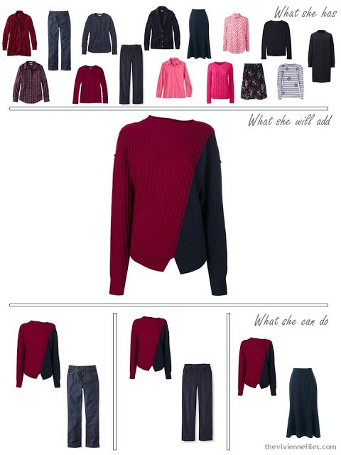 adding a navy and burgundy sweater to a capsule wardrobe in red and navy, for cool weather