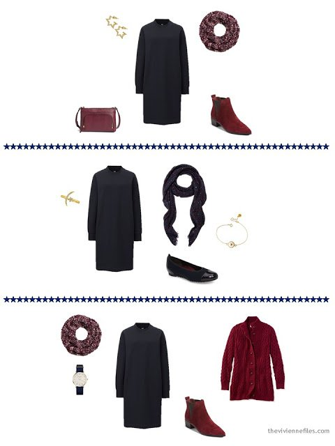 3 ways to wear a navy sweatshirt dress from a capsule wardrobe