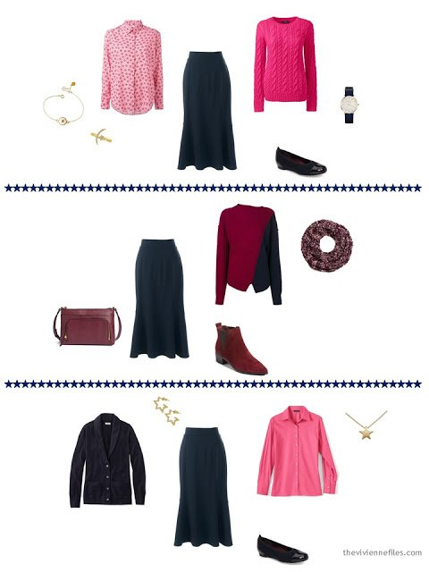 3 ways to wear a navy skirt from a capsule wardrobe