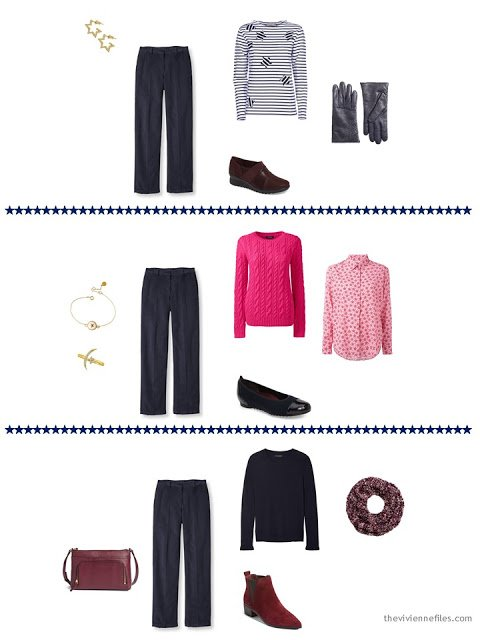 3 ways to wear navy corduroy pants from a capsule wardrobe