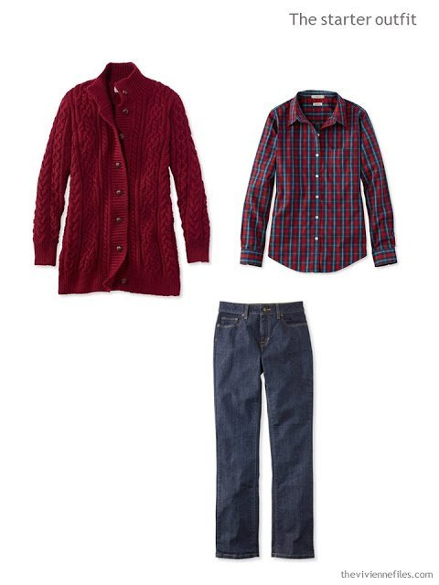 A starter wardrobe outfit in burgundy and denim, for cool weather