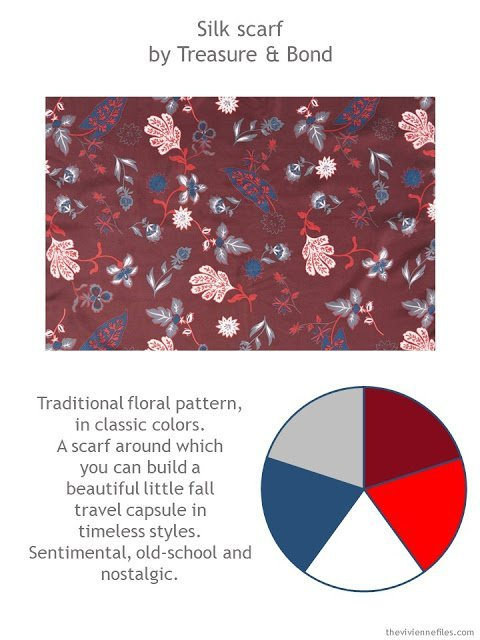 Treasure & Bond Funky Foliage scarf in burgundy combo with style guidelines and color palette