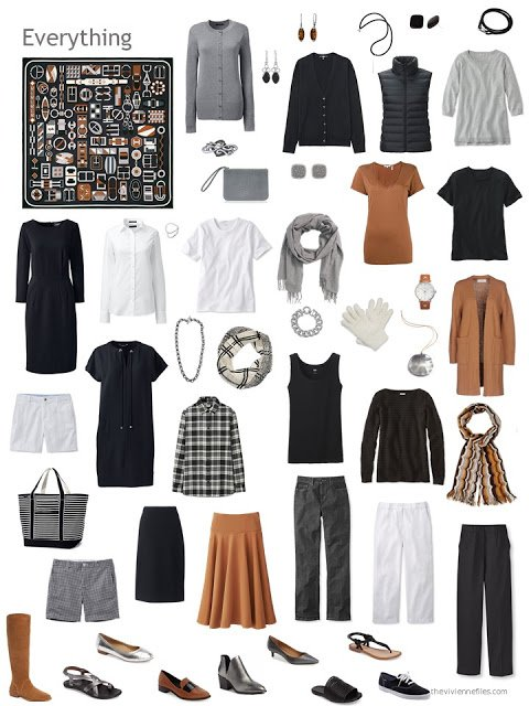 wardrobe based on a black, white, grey and brown Hermes scarf