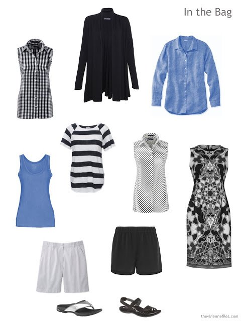 warm-weather travel capsule wardrobe in black, white and cornflower blue