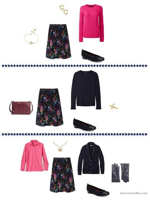 3 ways to wear navy floral skirt from a capsule wardrobe