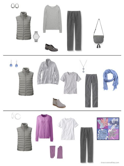 three outfits from a capsule wardrobe in grey with orchid and blue