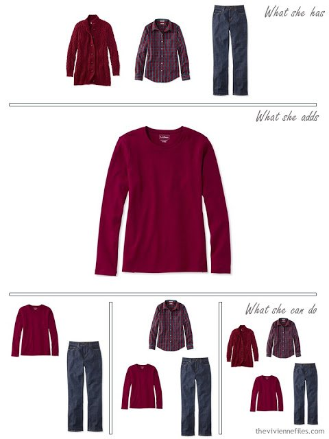 adding a burgundy long-sleeved tee shirt to a capsule wardrobe in red and navy, for cool weather