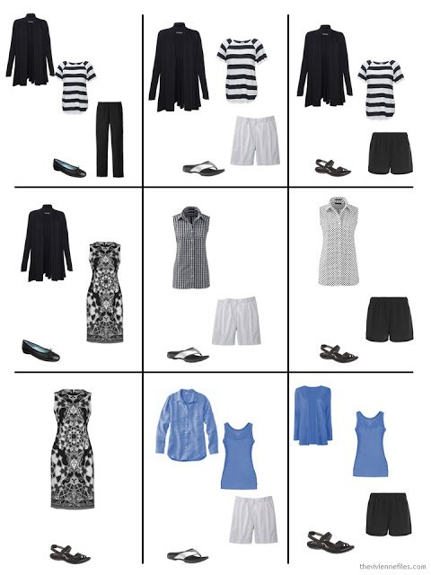 nine outfits from a warm weather travel capsule wardrobe in black, white and cornflower blue