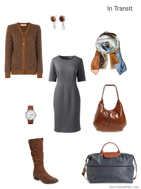 business travel outfit in rust and grey