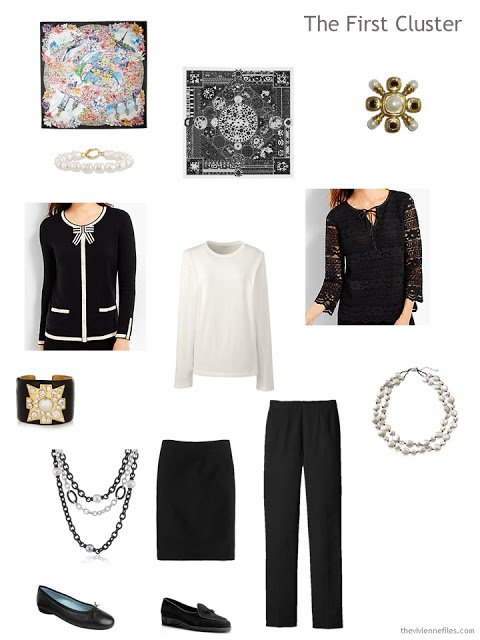 a dressy black and cream travel cluster featuring two tops from Talbots