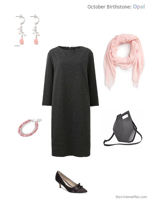 charcoal dress with rose pearl jewelry