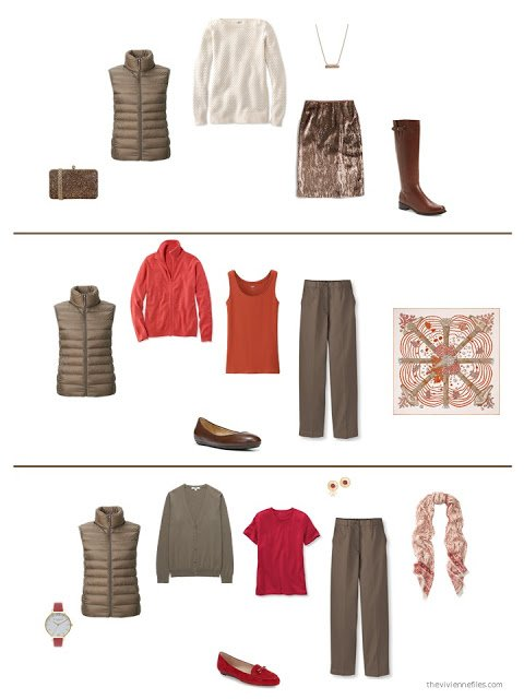 three outfits from a capsule wardrobe in brown with red and orange