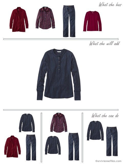 adding a navy Henley shirt to a capsule wardrobe in red and navy, for cool weather
