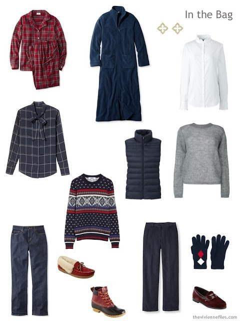 six-pack travel capsule wardrobe in burgundy, grey and navy for cool weather