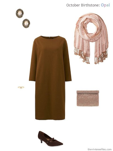 brown dress with rose opal jewelry and rose accessories