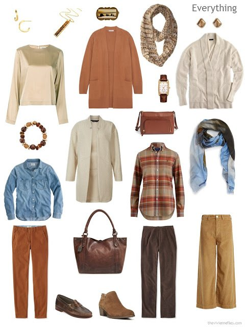 9-piece travel capsule wardrobe for cool weather in ivory, camel, rust and brown with denim blue