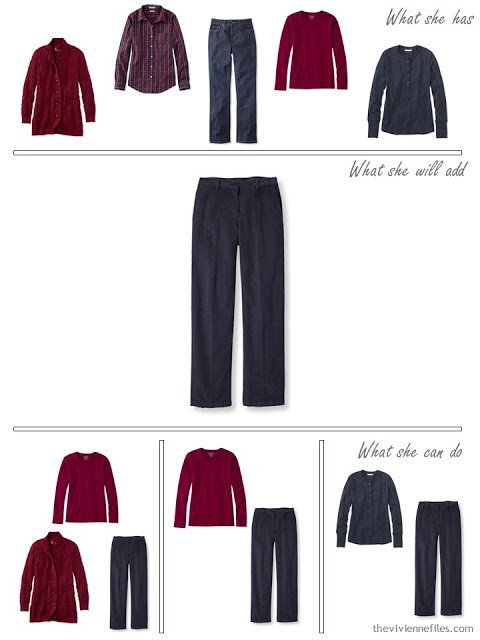 adding navy corduroy pants to a capsule wardrobe in red and navy, for cool weather