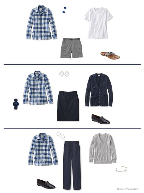 three outfits from a wardrobe in navy, grey and shades of red