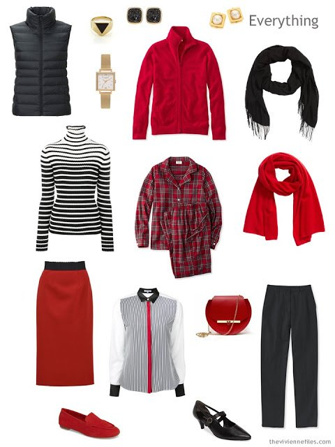 tiny travel capsule wardrobe in black, white and red