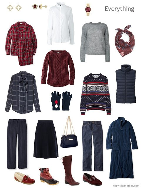 autumn travel capsule wardrobe in navy, burgundy and grey
