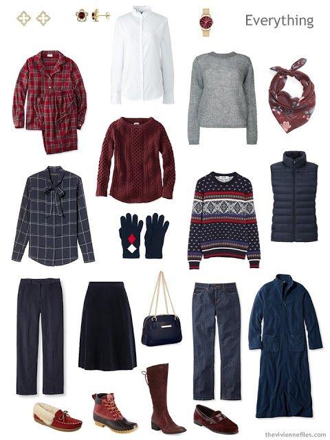 autumn travel capsule wardrobe in navy, burgundy and grey