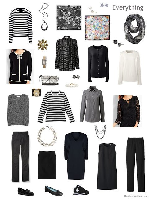 travel capsule wardrobe in black and white for Paris autumn 2017