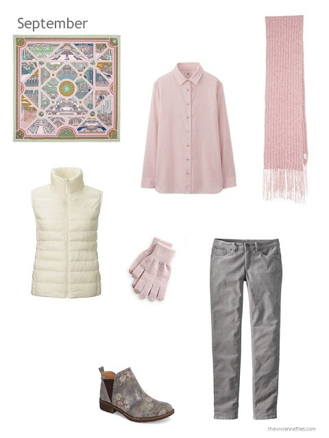 a fall and winter outfit in cream, pink and grey
