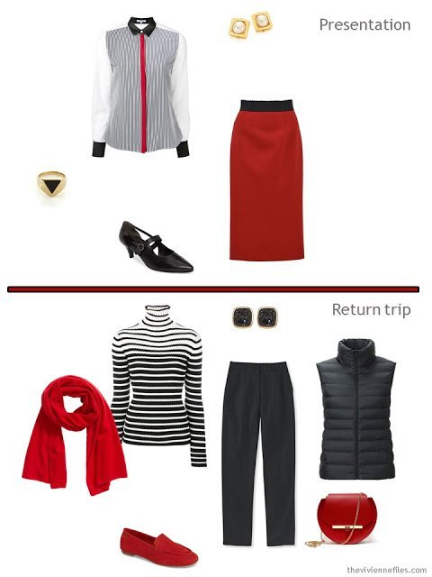 two outfits from a tiny travel capsule wardrobe in black, white and red
