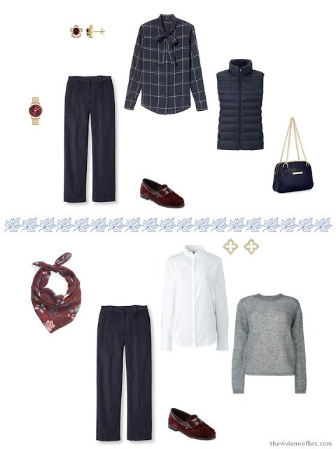 two ways to wear navy corduroy pants from a travel capsule wardrobe