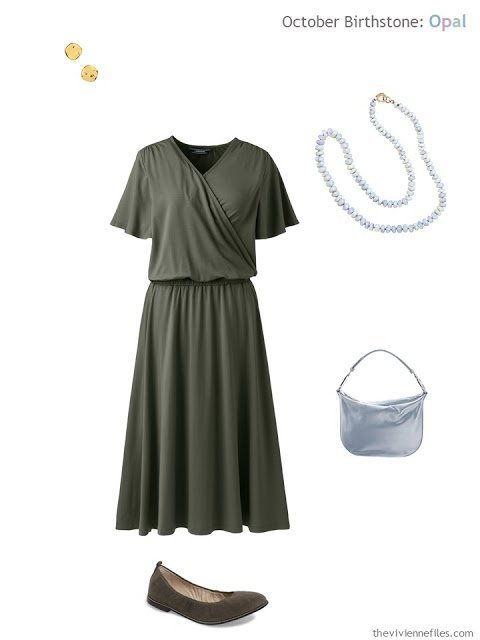 lavender blue opal necklace worn with an olive green dress