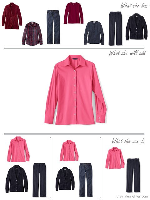 adding a hot pink shirt to a capsule wardrobe in red and navy, for cool weather