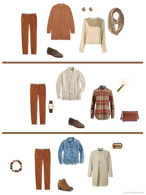 three ways to wear rust pants from a cool weather travel capsule wardrobe