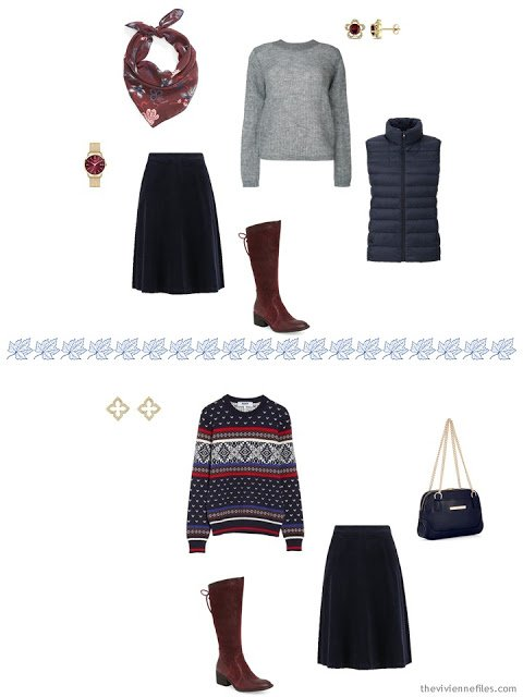 three ways to wear a navy corduroy skirt from a travel capsule wardrobe