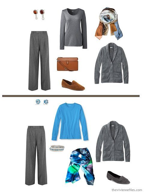 2 ways to style grey pants and a grey cardigan from a business travel capsule wardrobe