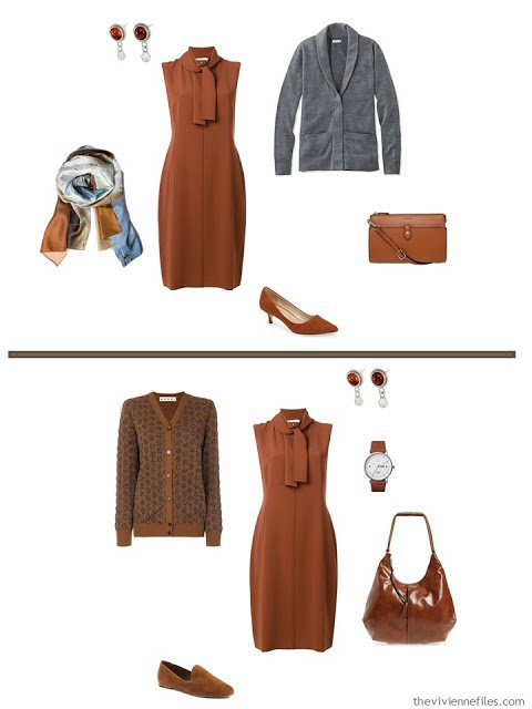 2 ways to style a rust dress from a business travel capsule wardrobe
