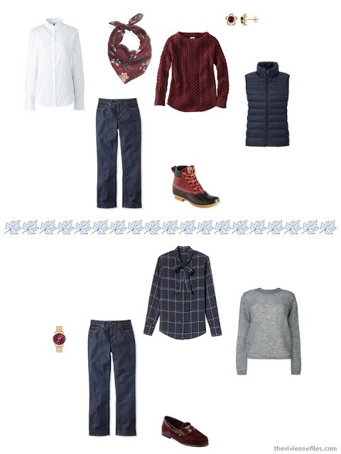 three ways to wear blue jeans from an autumn travel capsule wardrobe