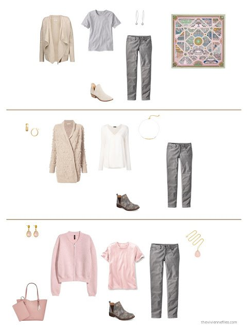 three outfits from a beige, pink and grey capsule wardrobe