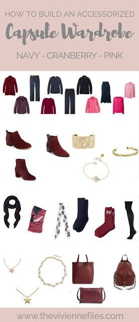 How to accessorize a fall capsule wardrobe in a navy, cranberry, and pink color pallet