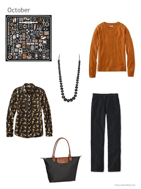 autumn outfit in orange and black
