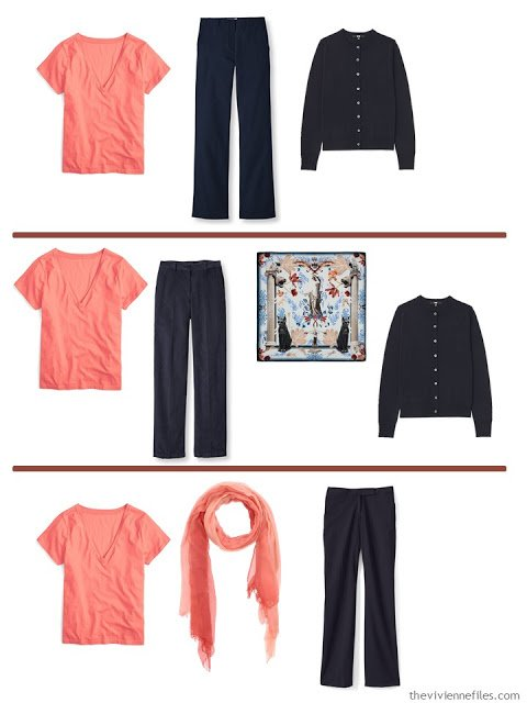 3 ways to wear a coral tee shirt with A Common Wardrobe in navy and white