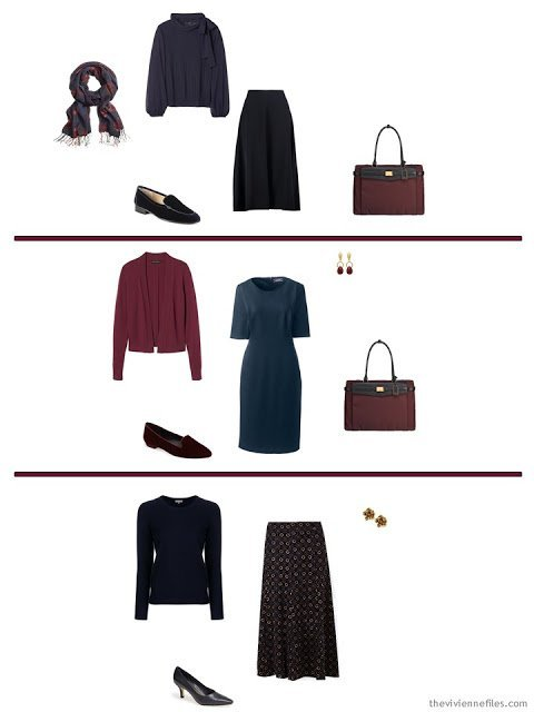 three options from a navy-based capsule wardrobe with accents of rose, burgundy, blue and green