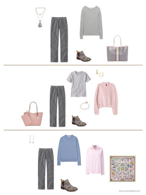 three ways to wear grey corduroy pants from a capsule wardrobe
